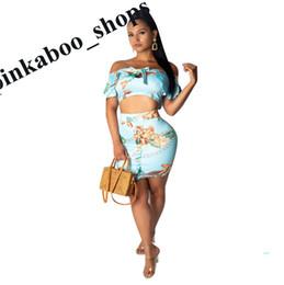 Wholesale tight short sleeveless dress resale online – Summer Women s Floral Dress Skirt Set Crop Shirt Sleeveless Tops and Short Tight Skinny Flowers Skirts Piece Clubwear Cloth LY401