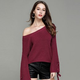 0b49fbf498 Casual Knitwear Autumn Solid Thick Loose Jump Knitted Tops High Quality New Winter  Women Pullover Sweaters Lace Up Long Sleeve Sexy Ladies