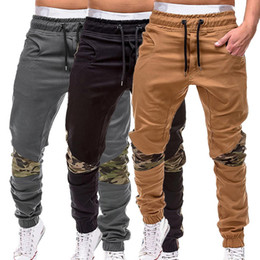white jogger pants mens 2019 - 2019 Fashion Solid Thin Men Camouflage Casual Pants Patchwork Sweatpants Male Cargo Pants Multi-pocket Sportwear Mens Jo