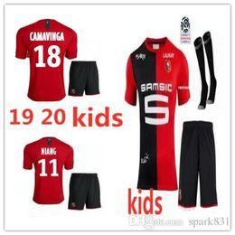 Venta al por mayor de 19 20 KIDS kit Stade Rennais camisetas de fútbol 2019 2020 Rennes maillot de foot # 7 Sarr # 11 Niang # 14 BOURIGEAUD # 21 Andre # 23 camiseta de fútbol Hunou