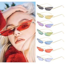 small cat eye sunglasses 2020 - Fashion Brand Women Cat Eye Sunglasses Triangle Cool Rimless Metal Frame Sun Glasses 2020 Small Ladies Shades Vintage Ey