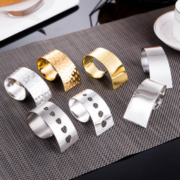 Discount stainless steel napkin holders - Napkin Ring Stainless Steel Napkin Holder For Wedding Hotel Dinner Party Decor Supply 6 Style Free Shipping 4 X New