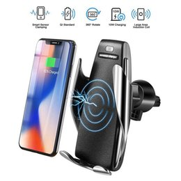 Wholesale S5 Wireless Car Charger Automatic Clamping For iphone Android Air Vent Phone Holder Degree Rotation W Fast Charging with Box