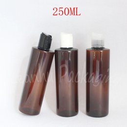 bottle shampoo UK - 250ML Brown Flat Shoulder Plastic Disc Top Cap , 250CC Empty Cosmetic Container , Lotion   Shampoo Packaging Bottle