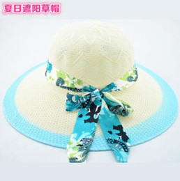 novelty flower hat NZ - 2019 new hot fashion summer travel lady bow beach straw hat UV flower visor sun hat can be folded