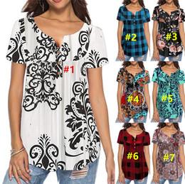 $enCountryForm.capitalKeyWord Australia - Summer Women's Plaid Button T-shirt Short Sleeve Floral Print Grid Tees Round Neck Pullover Loose Tops Casual Street Sports Wear 2XL A42901