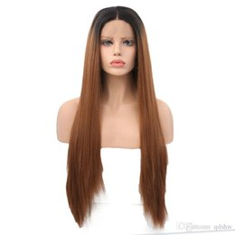 Discount black women two toned wigs - Long Straight Synthetic Lace Front Wigs Ombre Brown Two Tone Color Hand Tied Glueless Synthetic Wig For Black Women