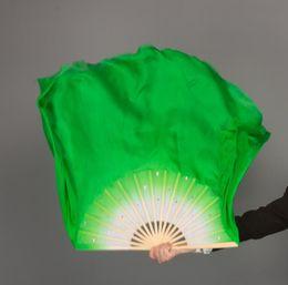"$enCountryForm.capitalKeyWord NZ - Hot Belly Dance 100% Real Silk Fan Veils Various Size 16""-34"" White Green Gradient Chinse Folk Dance Bamboo Folding Fan Props"