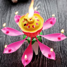 $enCountryForm.capitalKeyWord NZ - oomall Musical Lotus Flower Art Candle Happy Birthday Party Gift Candles Lights For Cake Topper DIY Kids Wedding Decoration Hoomall Music...