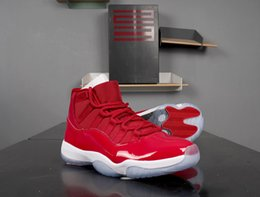 boot like shoes UK - Top Quality Win Like 96 men basketball shoes high 11 GS Gym Red White-Black Mens Sports Shoes 378037-623 with box