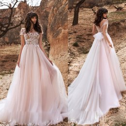 light coral wedding dresses Canada - Light Pink Bohemian Wedding Dresses Sexy Illusion Appliques Bridal Gowns A Line Beach Tiered Tulle Custom Hand Made Dress
