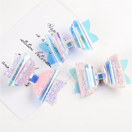 Baby Sequin Hair Clips Wholesale Australia - INS Kids Sequin Glitter Laser Bowknot 9cm Baby Girls Hairpins Double Clips Bows Hair Clip Barrettes Hair Accessories Headwear A51703