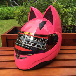 Women Half Helmets Australia - cat ear motorcycle helmet cross-country man and woman racing helmet four seasons anti-fog all-over cat ear helmet.