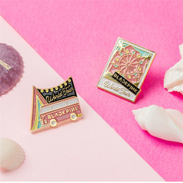 Metal Area Australia - Blackpink World Tour In Your Area Cute Metal Badge for Clothes Hat Backpack Jennie Jisoo Lisa Rose Brooches Button DIY