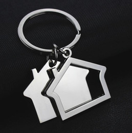 $enCountryForm.capitalKeyWord Australia - New Metal Creative Flat House Alloy Key Ring Home Pendant Cute Key Chain For Gifts Present Couple Chains