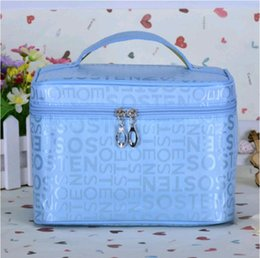 Sale Cosmetics Box Australia - 5pcs Hot sale cosmetic bags portable square bags large capacity with mirror wash bag letter cosmetic case gift