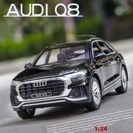 die cast models Canada - CZ Die Cast Car Model Toy, Audi Q8 SUV with Lights& Sound, Pull-back 1:24 High Simulation, Ornament, Christmas Kid' Birthday' Gifts, Collect