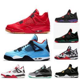 0ca78f8319151c 4 4s basketball shoes Singles Day Travis Scott x 4s HOUSTON Cactus Jack  Raptors Tattoo Green Glow mens shoes sports trainers sneakers 7-13