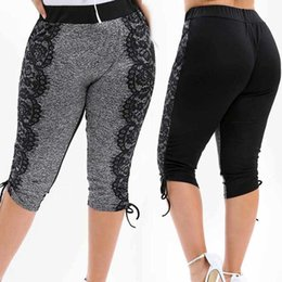 $enCountryForm.capitalKeyWord Australia - Womens Plus Size High Elastic Waist Yoga Shorts Lace Stitching Loose Sport fitness leggings Calf Length Pants For Ladies 2019