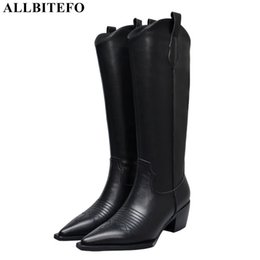 Open tOe cOwbOy bOOts online shopping - ALLBITEFO high quality genuine leather pointed toe high heels long women boots quality women heel shoes cowboy boots