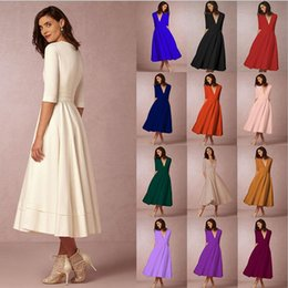 blue peplum midi dress Canada - New sexy deep V-neck sleeve dress in long work dress casual skirt woman overalls uniform skirt