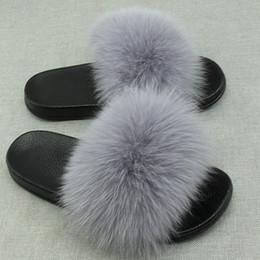 $enCountryForm.capitalKeyWord Australia - Real Fox Fur Slides Plus Size Summer 2018 Open Toe Fluffy Real Hair Slippers Casual Black Slip On Flip Flops Furry Shoes
