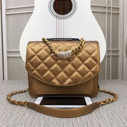 body glitter color NZ - Light brown color genuine leather diamond lattice women shoulder bags metal chain big capacity cross body bags with glitter decorative