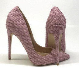 $enCountryForm.capitalKeyWord Australia - new style Light Pink Weave Heel height 8cm 12cm 10cm large size 34-45 Women's Red bottom high heel shoes banquet Cusp Fine heel Single shoes