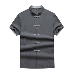 Wholesale china plus size clothing for sale – plus size Short Men s Shirts Men s Clothing Sleeve Shirt Male Big Size Plus Fat plus Men Loose Fat Shirt Li Collar Half Sleeve Top China Wind