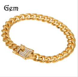 $enCountryForm.capitalKeyWord Australia - Europe and America high quality diamond studded color retaining electroplating stainless steel 10MM12MM Cuban grinding chain men's bracelet