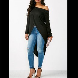 loose off shoulder shirts Canada - Fashion Women Summer Blouse Skew neck Off One-shoulder Long Sleeve Loose Blouse Casual Split Shirt Tops Asymmetrical 2019