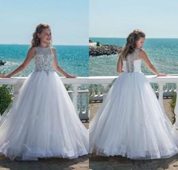 Real image giRl online shopping - Glitz Beaded Crystal Girls Pageant Dresses for Teens Tulle Floor Length Beach Flower Girl Dresses for beach Weddings cheap boho Custom Made
