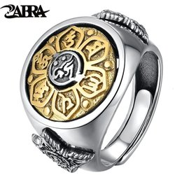 sterling silver buddha Australia - ZABRA 925 Sterling Silver Spin Ring For Men Women Open Size 2 Choices Buddha Six Words Signet Ring Vintage Rock Jewelry SH190930