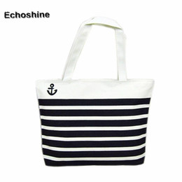 anchor handbags Australia - Wholesale- 2016 Hot Sale, Fashion Canvas Bags Black Anchor Pattern Shopping Shoulder Bags Women Handbag Casual Beach Bolsa for Girls