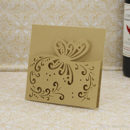 Figure Personalized Australia - Laser Cut Wedding Invitations OEM in 41 Colors Customized Hollow With Butterflies Personalized Wedding Invitation Cards #BW-I0312