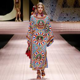 66867008694 Sicily style 2019 summer Brand designer Dress long sleeve runway Women  Clothes luxury print party dress maxi long cocktail dress G8339