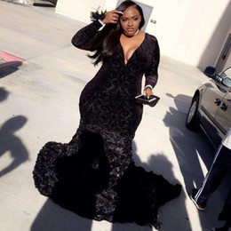 $enCountryForm.capitalKeyWord Australia - Plus Size Mermaid Prom Dresses Black Lace Plunging V Neck Long Sleeves Evening Gowns With 3D Flowers African Girls Special Occasion Dress