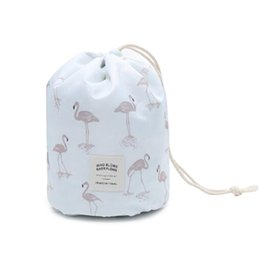 barrel shaped travel cosmetic bag NZ - Women Flamingo Drawstring Make Up Cosmetic Bag Female Large Capacity Travel Organizer Ladies Barrel Shaped Makeup Necessarie 359