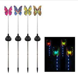 $enCountryForm.capitalKeyWord Australia - New solar light rod fiber optic four-color butterfly ground garden lawn plug light Amazon explosion