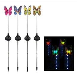 Nuova luce solare a fibre ottiche in fibra ottica a quattro colori farfalla giardino prato luce plug esplosione Amazon
