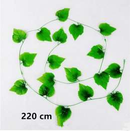 fake vines decoration UK - YO CHO Artificial Plant Vine Rattan Hanging Plants 220 CM Wedding Silk Fake Green Plant DIY Home Garden Wall Fence Decoration