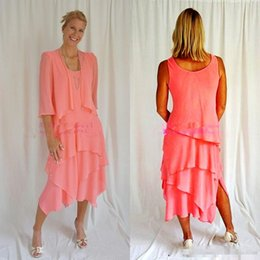 tiered mother bride dress jacket NZ - Water Melon With Jacket Mother Of The Bride Dresses Coral Chiffon Tea Length Tiered Skirt Formal Mother's Dresses Formal Wear Custom