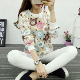 Flannel Sweatshirts Australia - Fashion Harajuku Cute Brown Teddy Bear Panda Women Hoody Sweatshirt High Quality Long Sleeves Flannel Pullovers Warm Tops