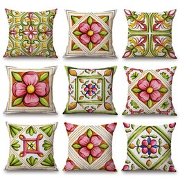 $enCountryForm.capitalKeyWord Australia - red and green flower cushion cover beautiful floral throw pillow case for sofa bed lounge modern chaise chair cojines