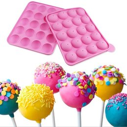 cake pop silicone mould UK - 3d Lollipop Mold Heart Cake Pops Maker Candy Bar Chocolate Mold Ice Cube Pastry Accessories Baking Supply Tray Silicone Mould