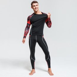 $enCountryForm.capitalKeyWord NZ - Brand Clothing Men's MMA Fitness T-shirt 3D Teen Wolf Long Sleeve Compression Shirt Bodybuilding Crossfit 2 piece tracksuit 4XL