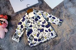 Boys shirts designs online shopping - Boy shirt children s designer clothing new fashion contrast print lapel cardigan dress single breasted pocket design casual boy shirt