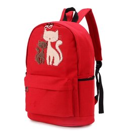 $enCountryForm.capitalKeyWord NZ - Women Backpack Cute Cat Pattern Casual Fashion Canvas Backpack College Students School Bag Fashion Bags for Women ZK50