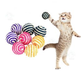 Halloween Balls Australia - Sisal ball pet cat toy scratch-resistant grindable ball toy cat catch ball funny toy for 40mm