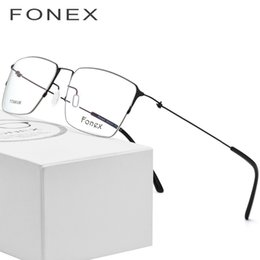 57a262619c8 Titanium Glasses Frame Men Semi Rimless Prescription Eyeglasses Women Myopia  Optical Frames Ultralight Korean Screwless Eyewear